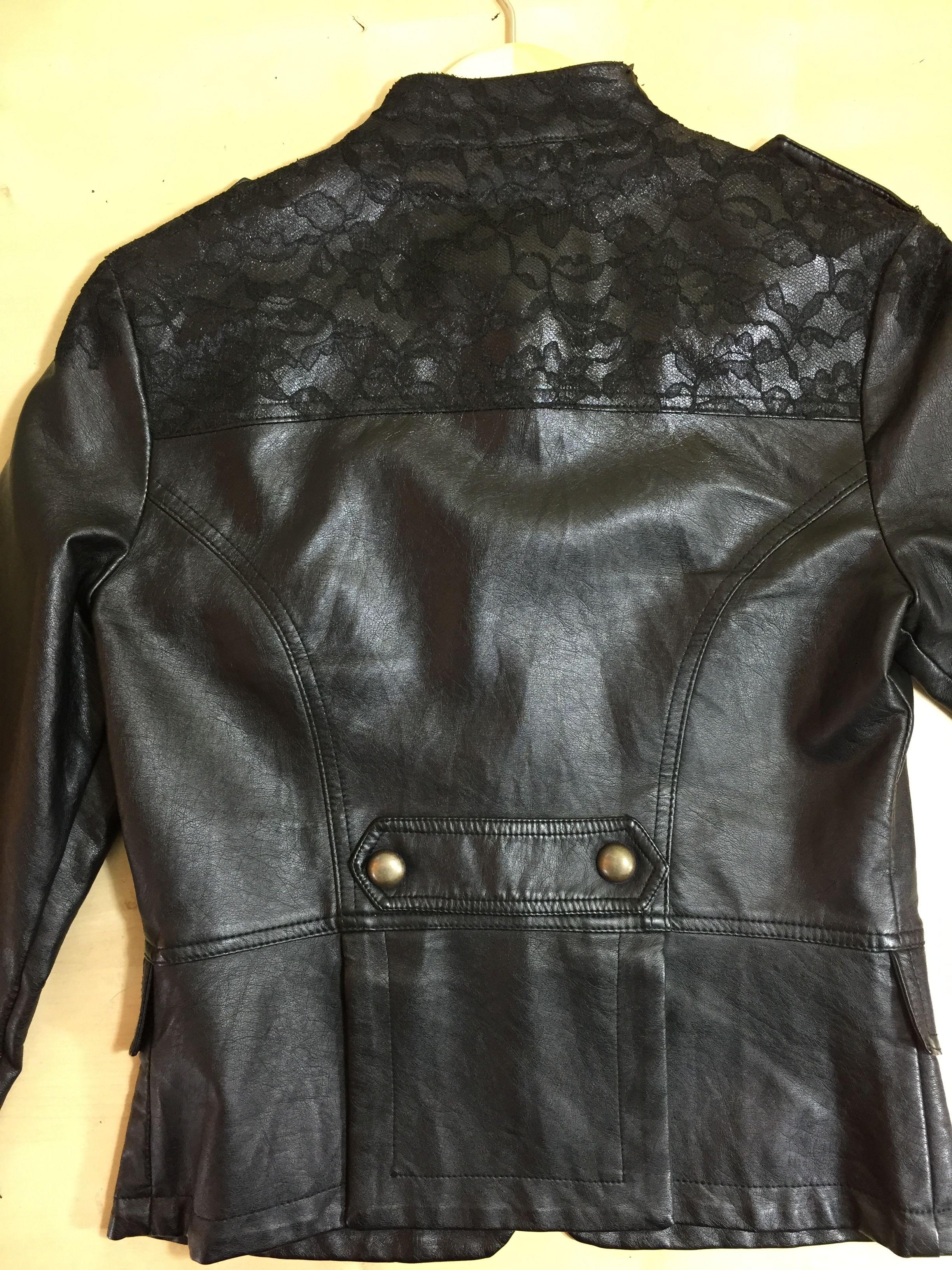 Jacket Repair Peeling Pleather Camouflaged With Lace Pleather Jacket Leather Jacket Repair Fake Leather Jacket [ 3264 x 2448 Pixel ]