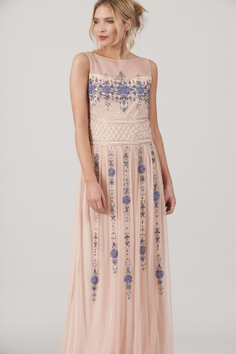 96c8c91c3bf Frock and Frill Berthe Rose Pink Embellished Maxi Dress