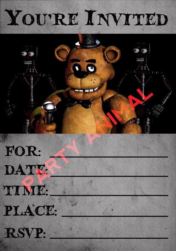 Five Nights At Freddys Party Invitation By PartyAnimalinvites