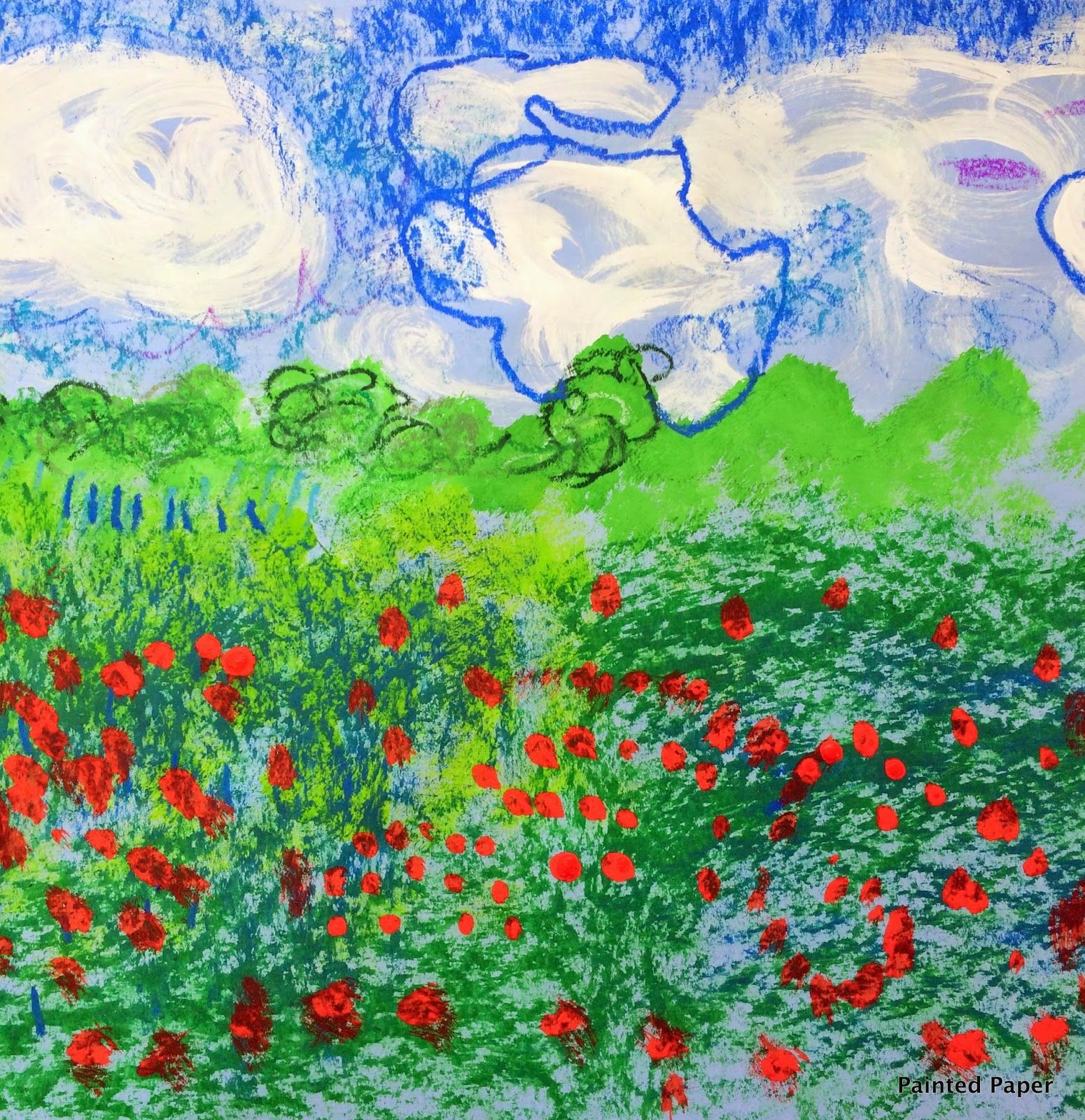 PAINTED PAPER Monets Fields Of Poppies Art Class Famous - Artist plants 12 acre field to create a giant artwork inspired by van gogh