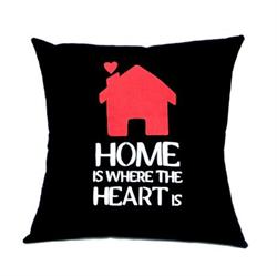 Home is where the heart is. Sød pyntepude. Sød som housewarming gave.