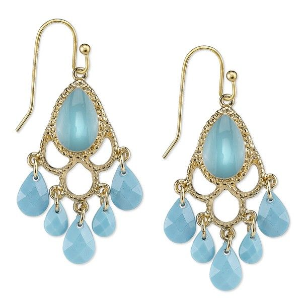 Beautiful and bright. These lovely gold-toned chandelier earrings are decorated with enameled turquoise details and turquoise-colored briolette drops. A lovely pop of color to add an element of fun to your ensemble.