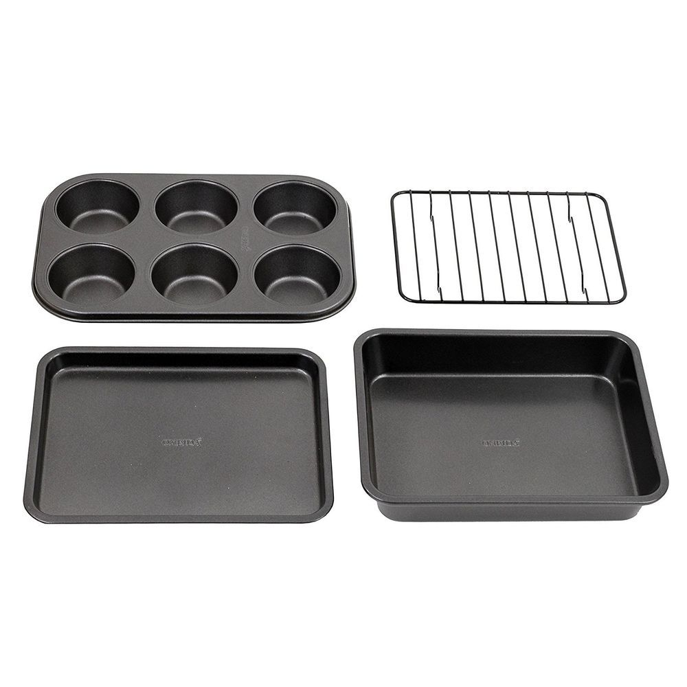Toaster Oven Bakeware Set Baking And Muffin Pans Cookie Sheet Cooling Rack 4 Pc Oneida Toaster Oven Bakeware Bakeware Set Pan Cookies