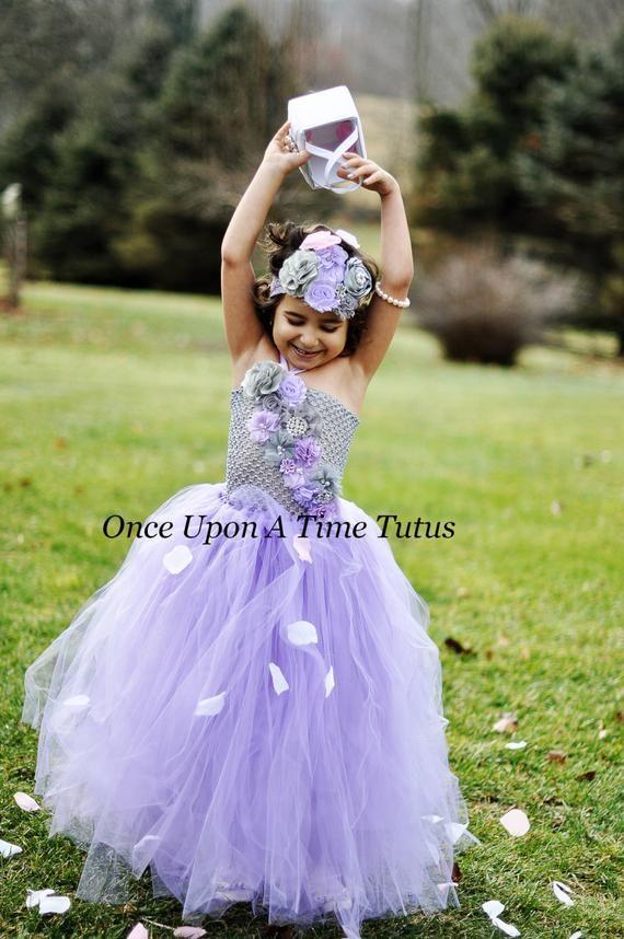 6f7b2dc8133 Lavender Gray Flower Girl Tutu Dress - Spring Photo Prop