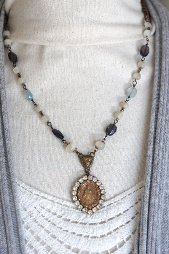 Summer in Florence-Vintage assemblage necklace MOP rosary