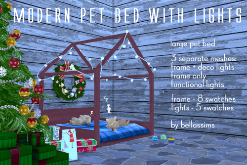 Christmas Modern Pet Beds With Lights For The Sims 4 Sims 4