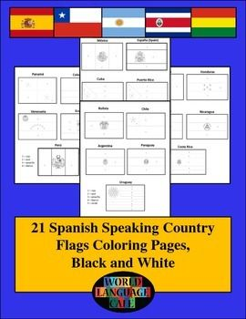 Spanish Speaking Color by Number Country Flags | Spanish speaking ...