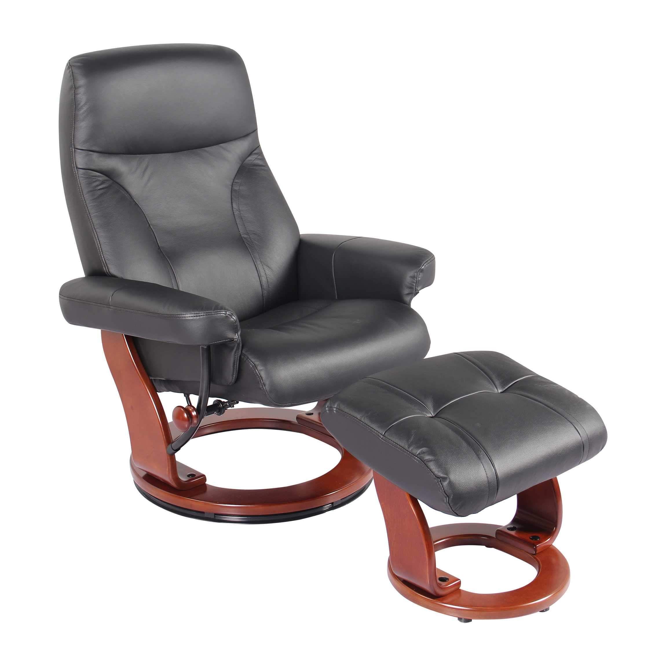 Black Chair & Ottoman Black Swivel recliner, Swivel