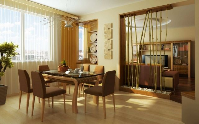 raumteiler-ideen-wohnbereich-bambusstäbe-deckenhoch-flusssteine ...