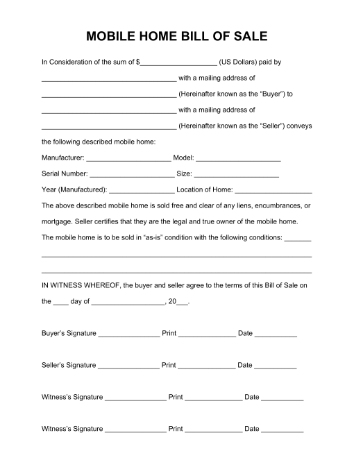 Free Mobile (Manufactured) Home Bill of Sale Form - PDF