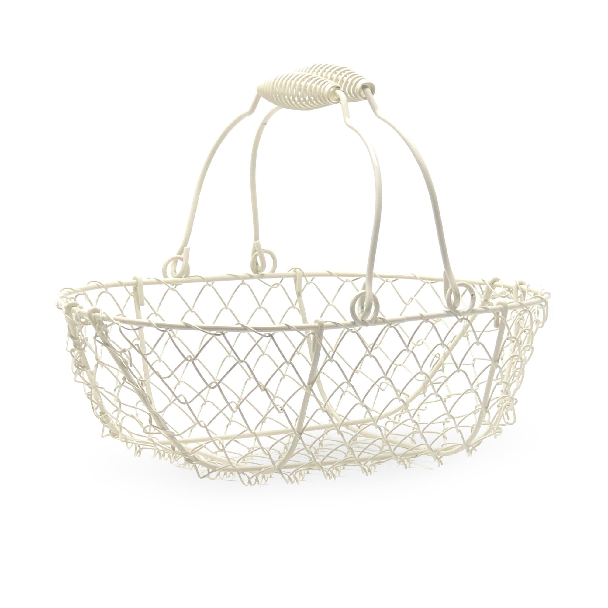 Stella White Mini Wire Oblong Basket 9in Lucky Clover Wholesale Gifts Basket