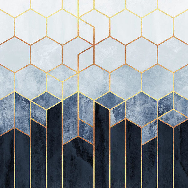 Bleu Doux Hexagones Impression D Art Par Elisabeth Fredriksson Art Deco Interior Hexagon Wallpaper Interior Deco