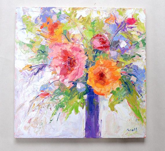 Rustic Flower Painting Fall DecorPalette Knife Modern