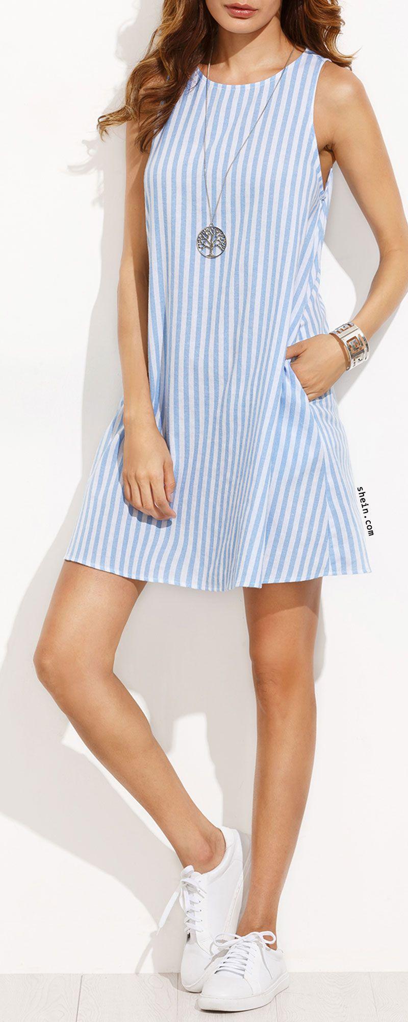 Blue and White Stripe Sleeveless Shift Dress