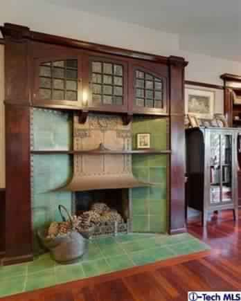 Arts and crafts bungalow fireplace 1908 lewis j for Bungalow fireplace ideas
