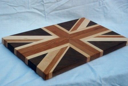 Union Jack Cutting Board. $125.00, via Etsy. - I want to learn woodworking so I can make my own.