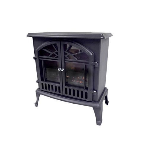 Wood Burning Stove Electric Log Fire Portable Metal Vintage Charm Space Heater