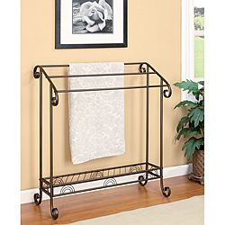 @Jodi LaRue//@Overstock - This traditional towel and quilt rack features three metal bars to store your bathroom needs. At the bottom section of the towel rack you can store additional pieces such as shoes.http://www.overstock.com/Home-Garden/Metal-Bathroom-Towel-Rack/6317659/product.html?CID=214117 $89.99