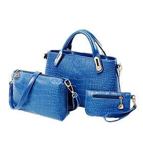 Women's PU Crocodile Pattern Three Pieces Handbag Shoulder Bag Clutch Bag