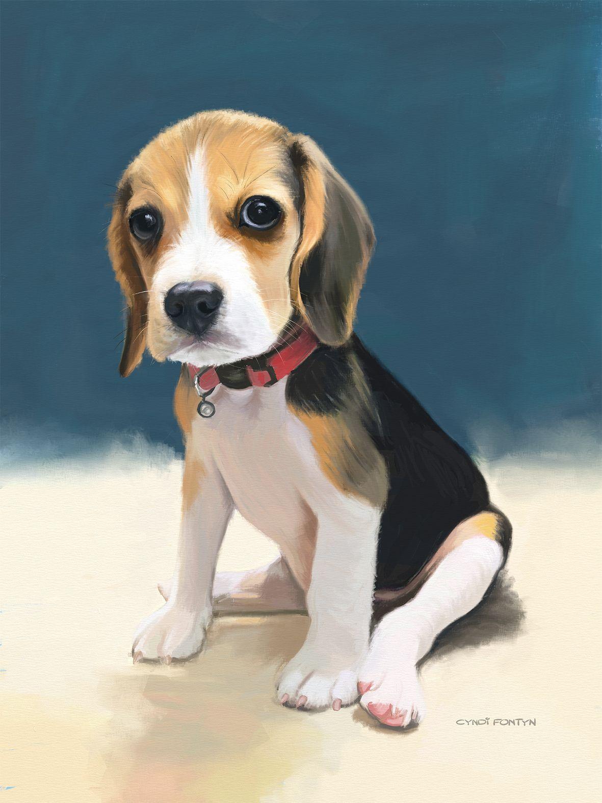 Beagle Puppy Digital Painting Pet Portraits Made By Cyndi Fontyn