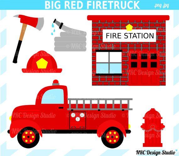 Firefigher Clip Art Gros Camion De Pompier Rouge Clip Art Digital Camion De Pompier Fire Station Hydrant Clipart Fire Trucks Firetruck Birthday Clip Art