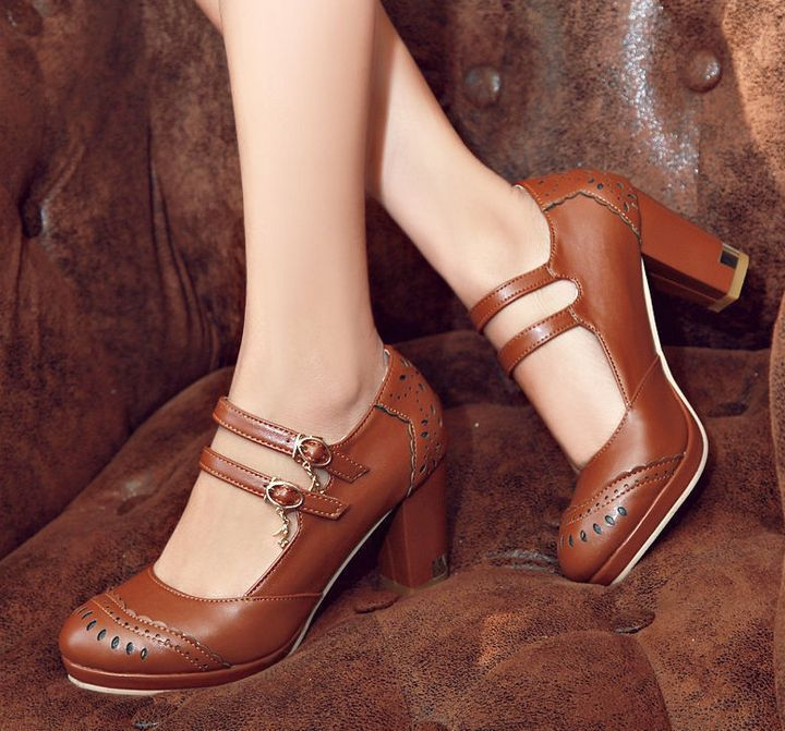 Retro Women Buckle Strap Mary Janes High Heel Brogues Ladies Shoes Pumps  A407
