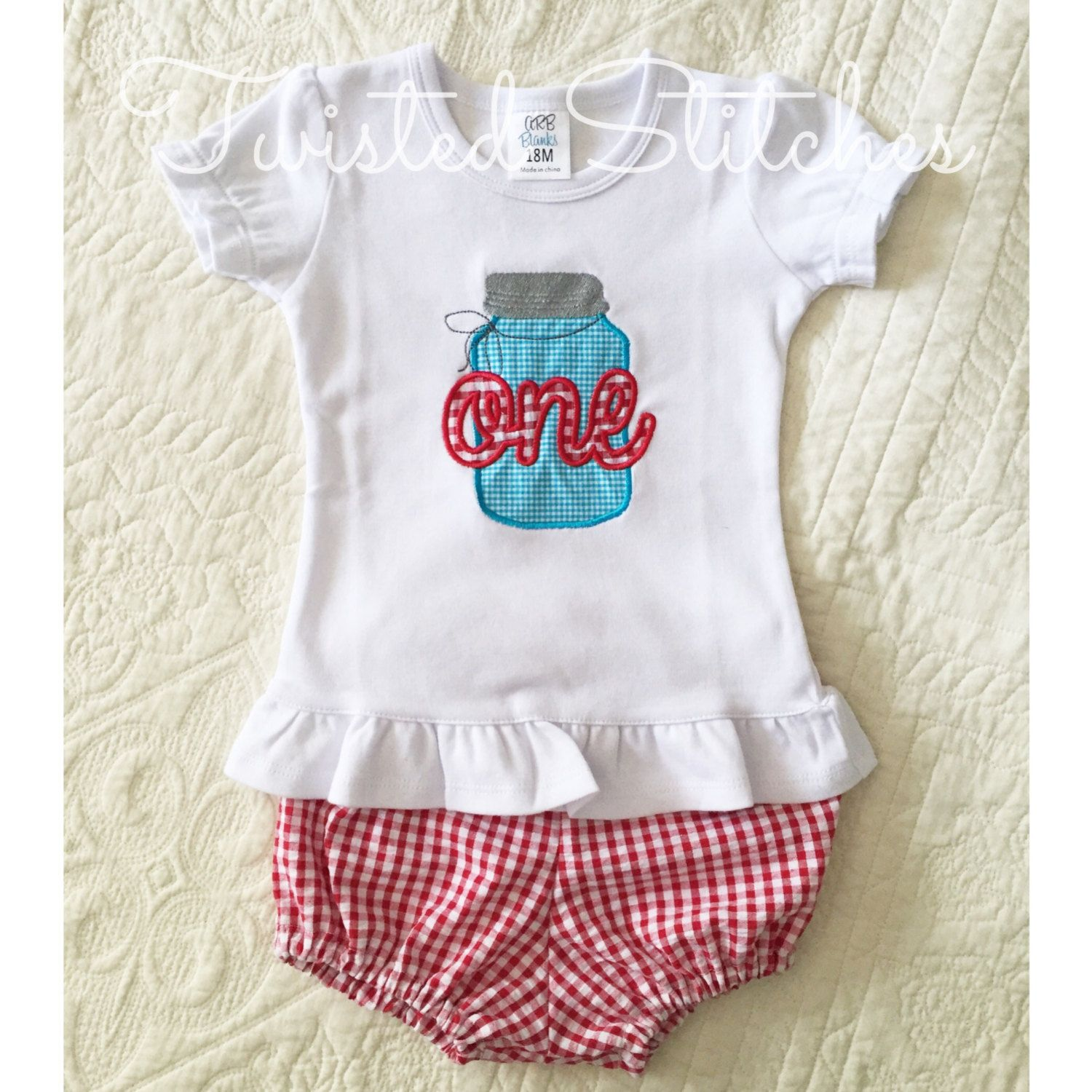 First Birthday Outfit Picnic Red Gingham Bloomers And Shirt Set Mason Jar Applique Southern By JennsTwistedStitches On