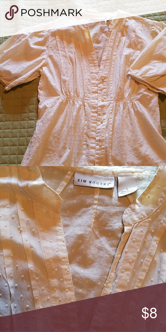 White dotted swiss button down blouse Raised dotted fabric,  off white with buttons down.  Vintage style. Kim Rogers. Fitted medium and large. Tops Blouses