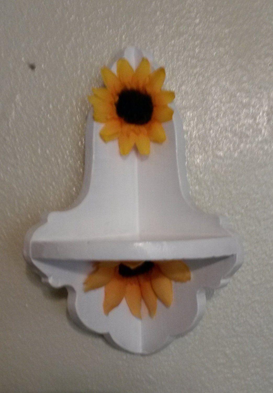 Shelf Corner Sunflower Small White Hand Painted Shelf