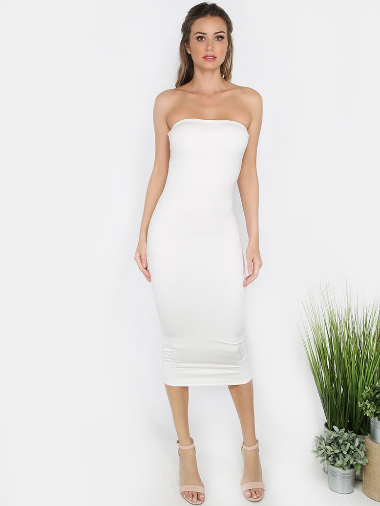 2fc19bde8605 Online shopping for Strapless Bodycon Midi Dress WHITE from a great  selection of women's fashion clothing & more at MakeMeChic.COM.