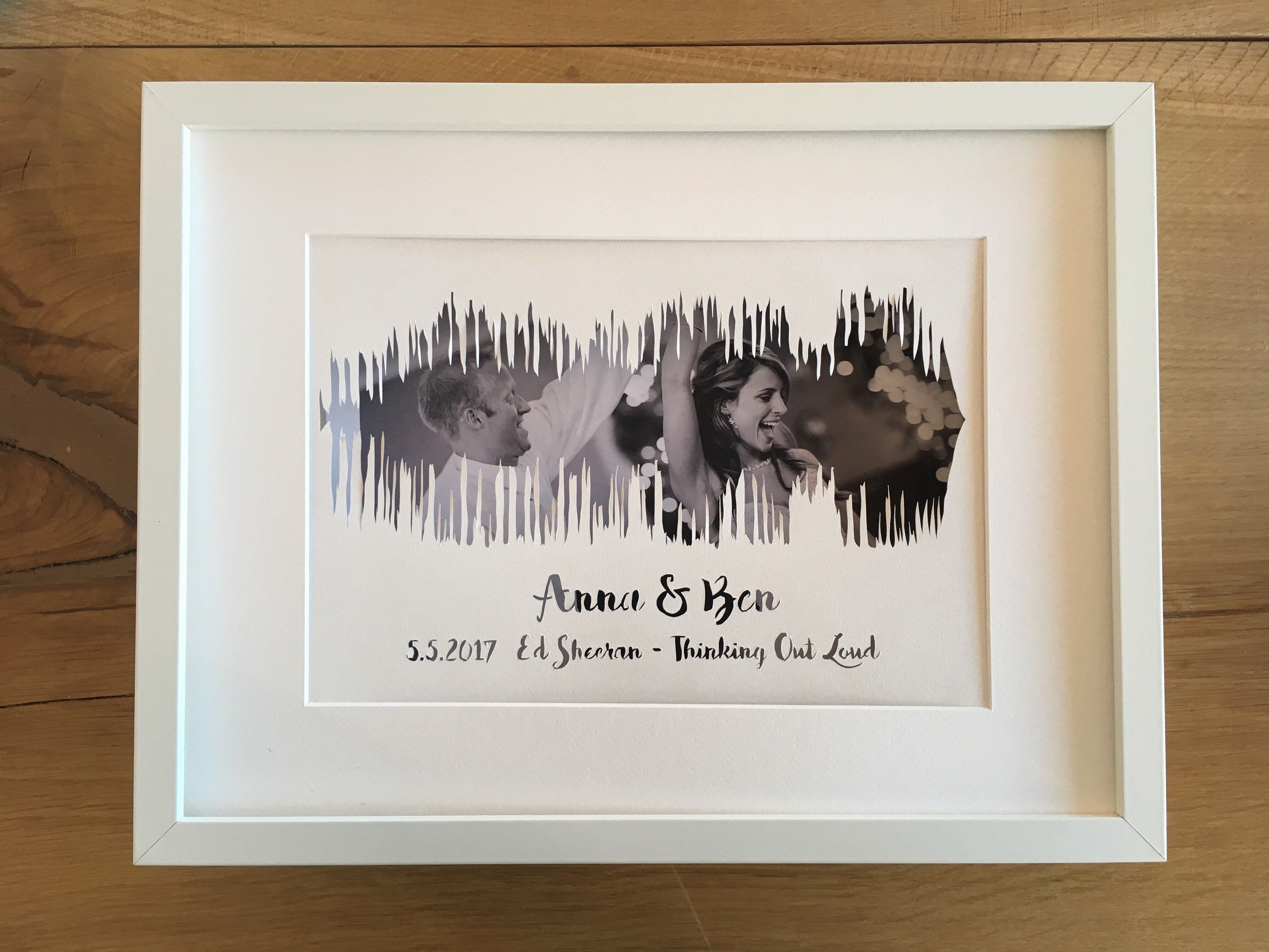 Custom Soundwave Paper Cut Personalized First Wedding Anniversary