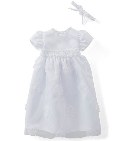 Edgehill Collection Baby Girls Newborn-12 Months Satin Flower Dress | Dillard's
