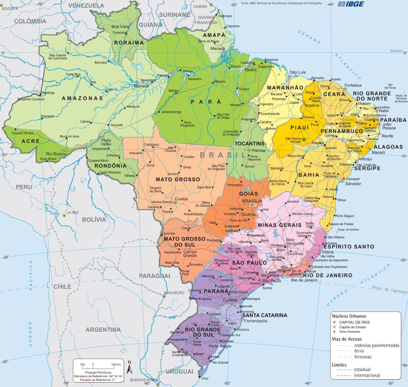 Map Of Brazil Com Imagens Mapa Brasil Geografia Do Brasil
