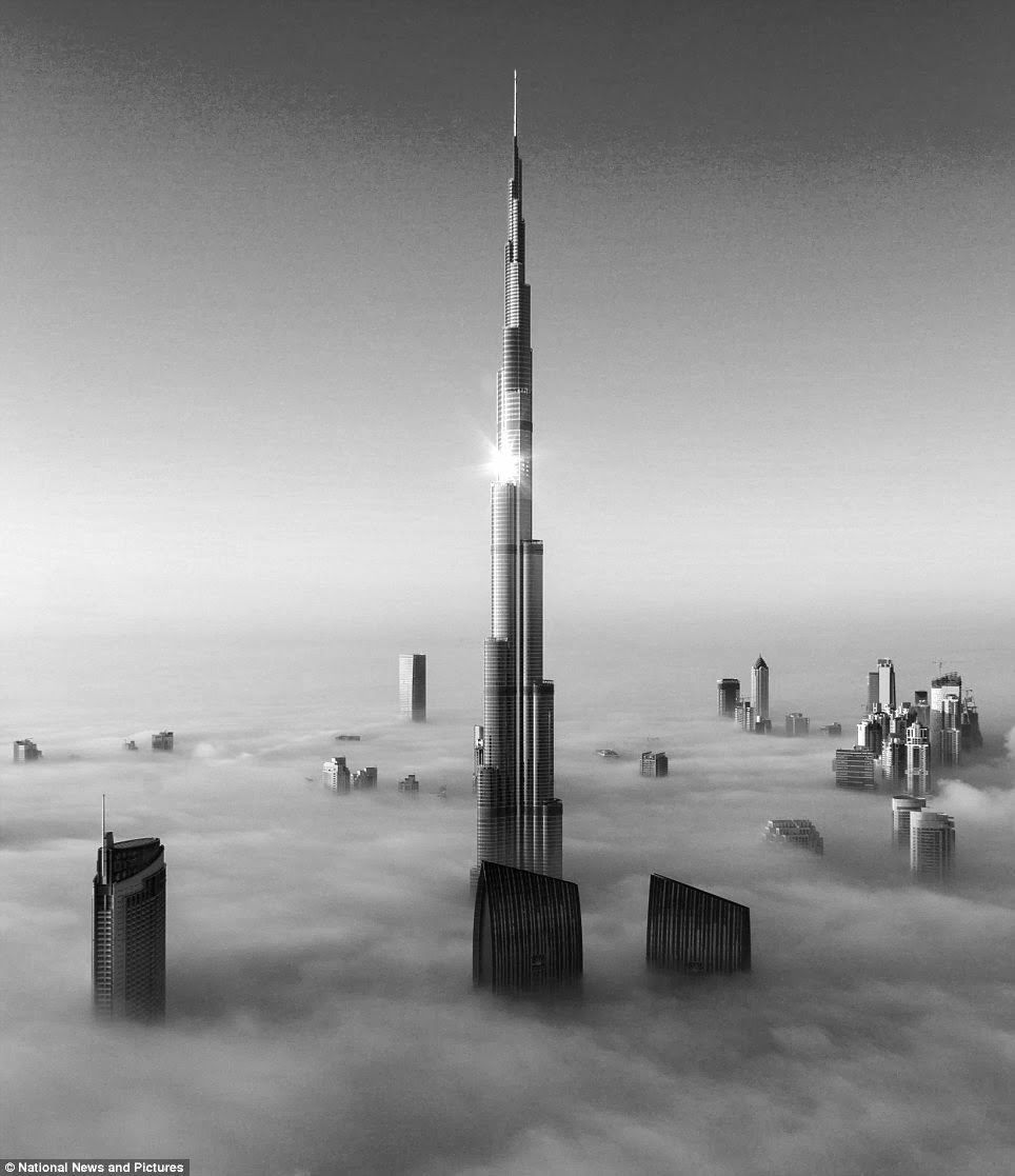 Burj khalifa worlds tallest building black and white photography