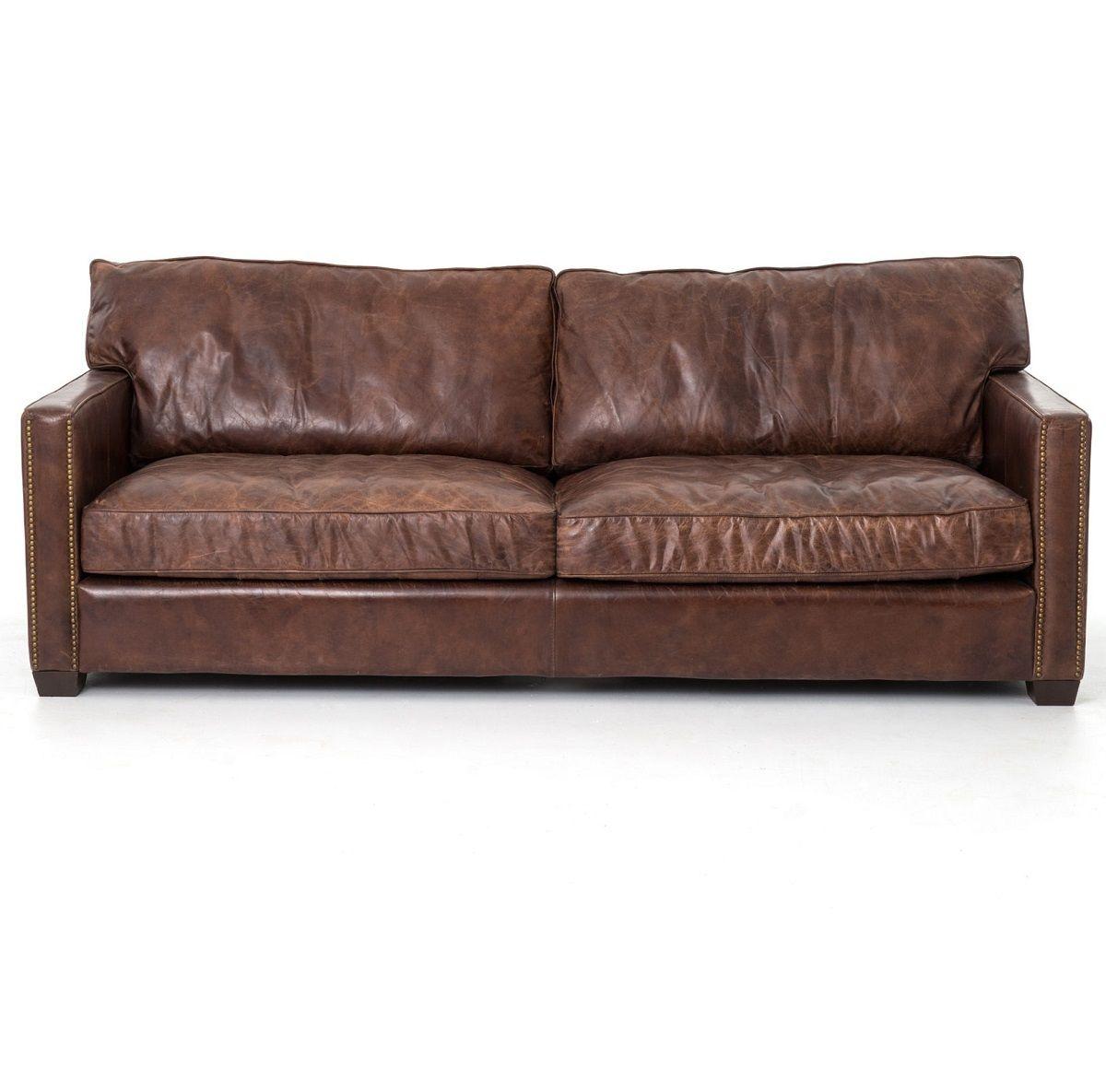 Larkin 3 Seater Vintage Cigar Distressed Leather Sofa Distressed Leather Sofa Distressed Leather Couch Vintage Leather Sofa