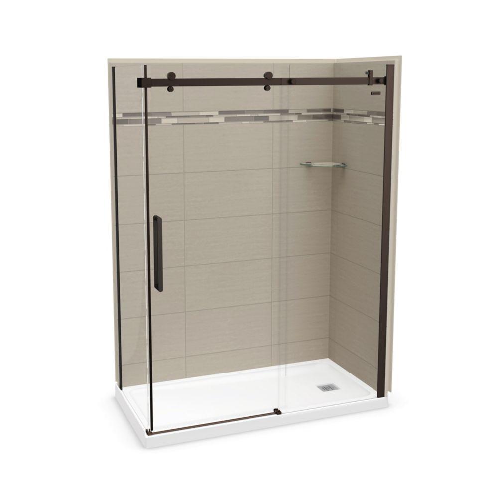 Utile 60 Inch X 32 Inch Origin Greige Right Hand Corner Shower Kit With Dark Bronze Door Corner Shower Kits Shower Kits Shower Sliding Glass Door