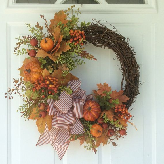 Fall Wreath-Autumn Wreath-Fall Decor-Harvest by ReginasGarden