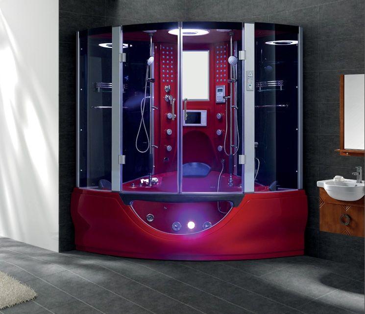 Oasis 061 Steam Shower Whirlpool Bathtub Combination Red Shower
