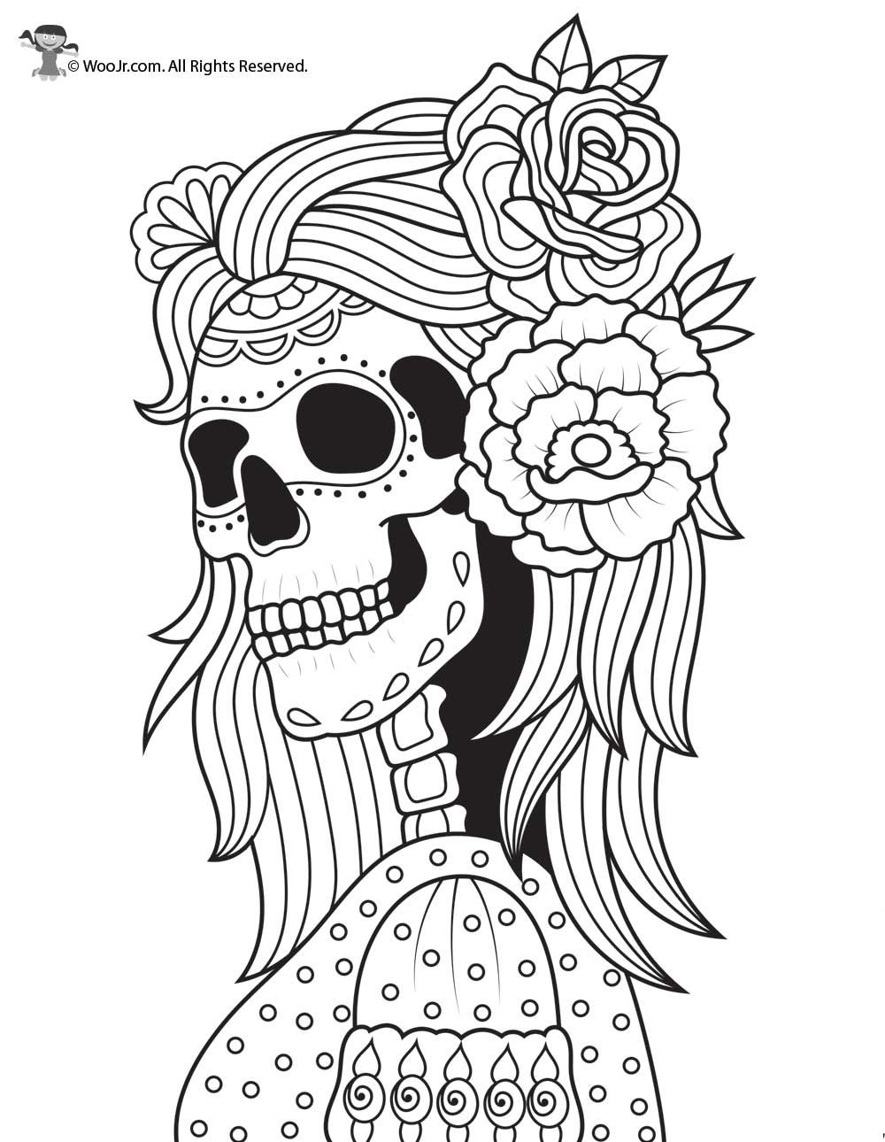 Skeleton and Roses Day of the Dead Coloring | Woo! Jr ...