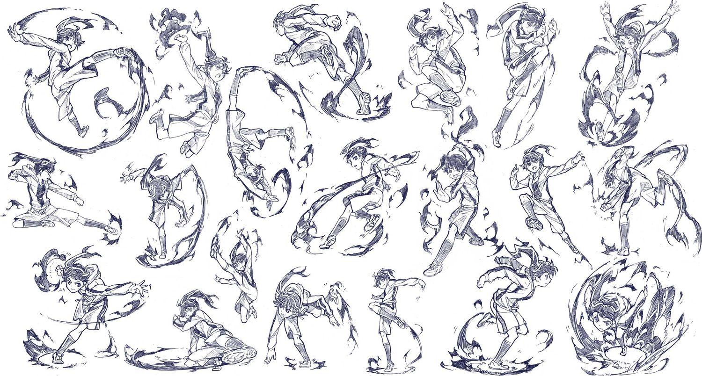 araragi_karen fire jpeg_artifacts monochrome monogatari_(series) nisemonogatari sketch zaxzero