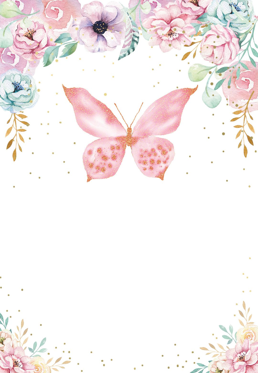 Pink Glitter Butterfly Birthday Invitation Template Free Greetings Island Butterfly Birthday Invitations Butterfly Baby Shower Butterfly Birthday