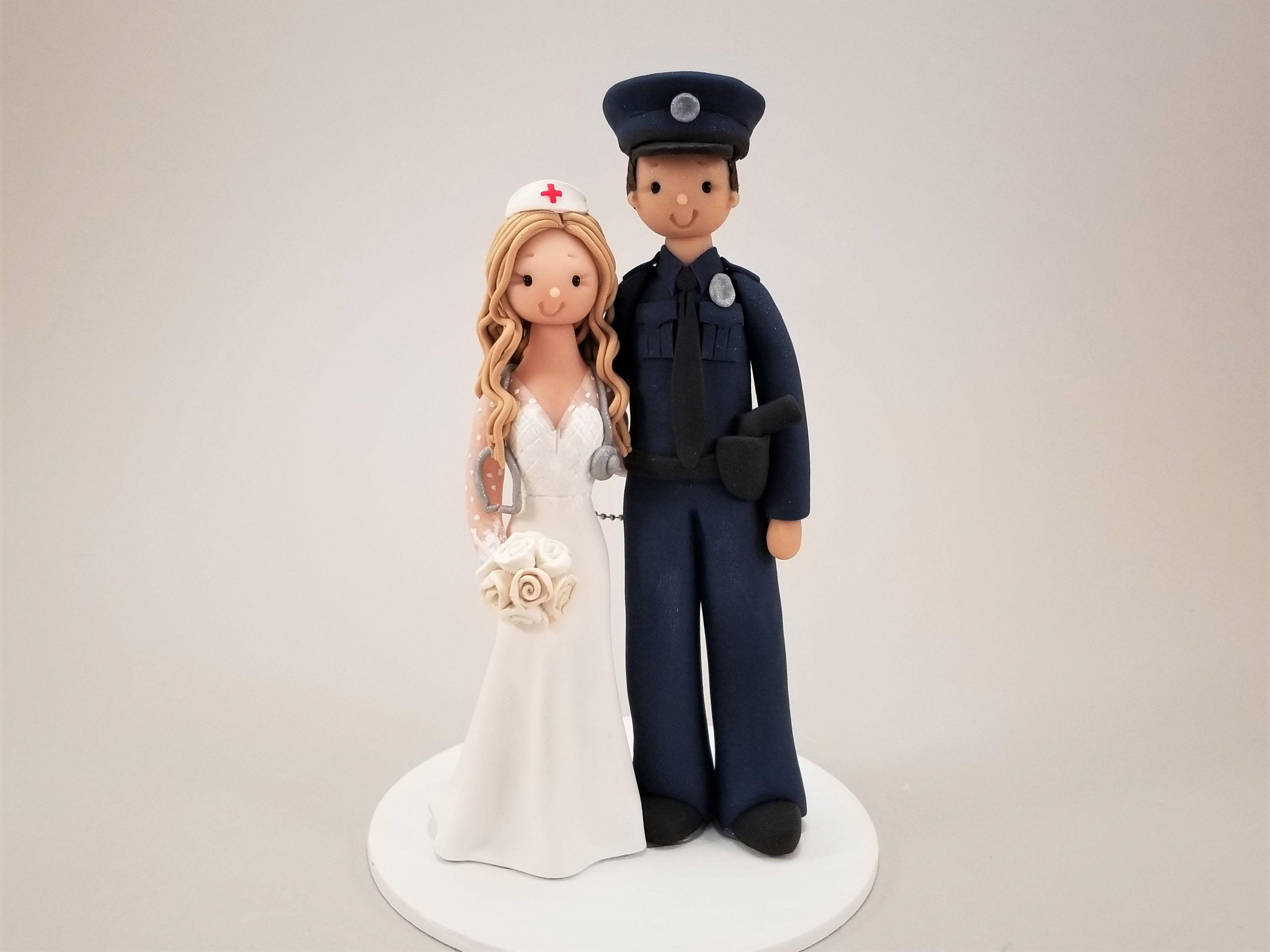 Police Officer Nurse Custom Handmade Wedding Cake Topper By