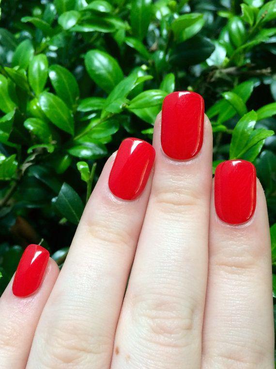 Red Nails Fake False Acrylic