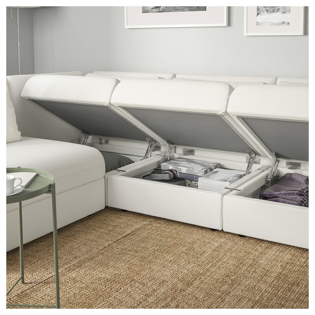 Vallentuna Modular Corner Sofa 3 Seat With Storage Murum White Modular Corner Sofa Corner Sofa Sofa Storage