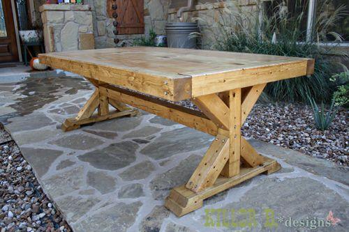 Ana white build a chunky x base table featuring killer b for Farm table legs diy
