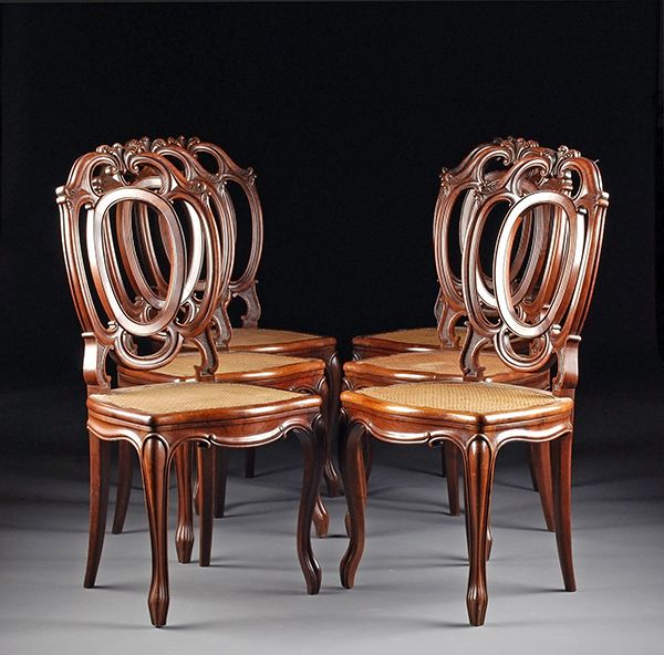Set of six antique Italian dining chairs. Constructed in the tradition of Italian  furniture makers who often favored French Louis XV style. - Antique Italian Set Of 6 Dining Chairs.Mahogany.1920′s Antiques