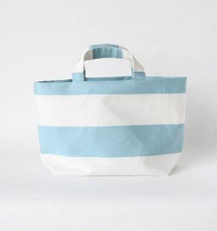 syuro - kota border tote (white x light blue)