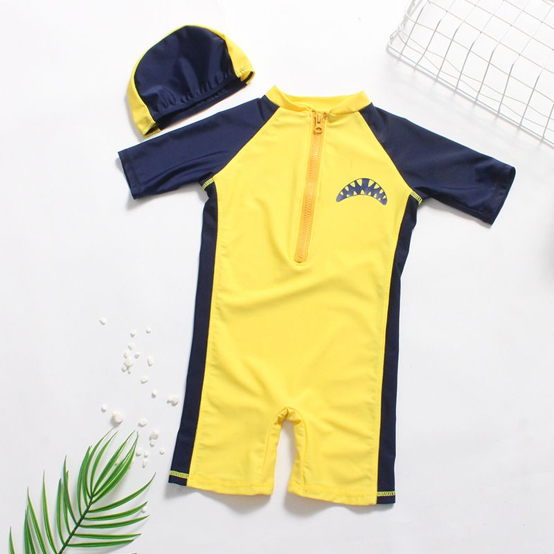 e879c10ce5 Kid Boys Print Shark Swimsuit With Swim Cap | Kidshoo | Swimsuits ...