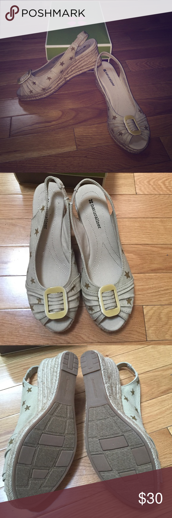 NIB Naturalizer canvas wedges Brand-new in box, beige canvas wedges with Gold stars, women's 8 1/2 Naturalizer Shoes Wedges