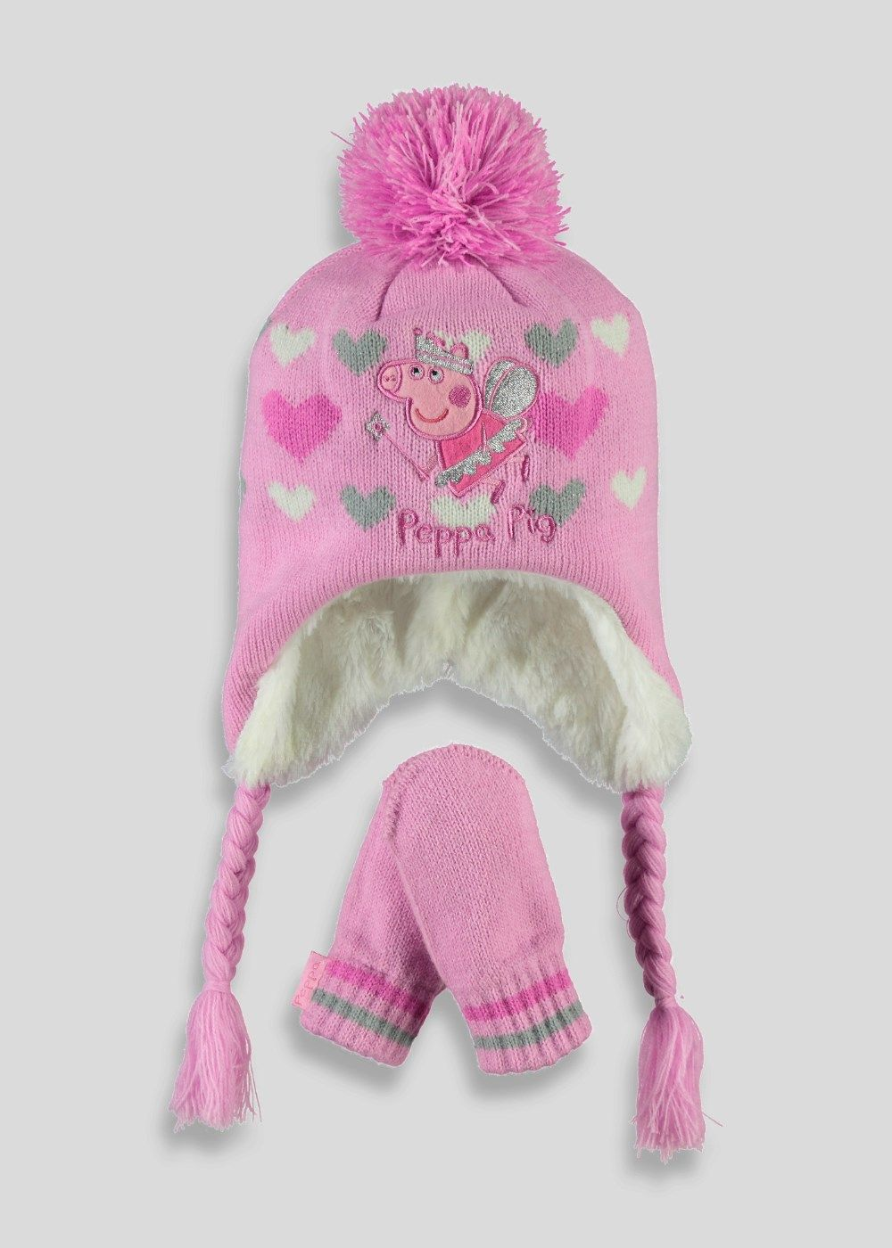 5d6d1660711 Girls Peppa Pig Pull On Hat and Mittens Set (12mths - 4yrs) by Matalan